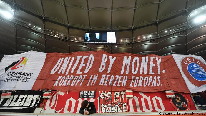 An anti-UEFA protest in the Bundesliga