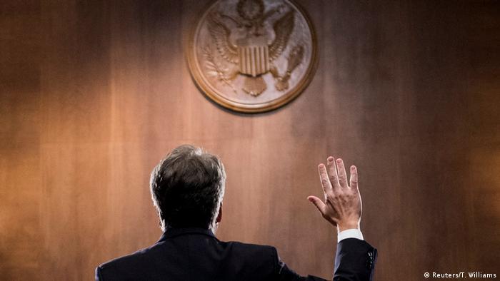 Kavanaugh being sworn in during his US Senate hearing (Reuters/T. Williams)