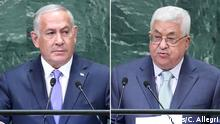 Bildkombo Benjamin Netanjahu und Mahmud Abbas
