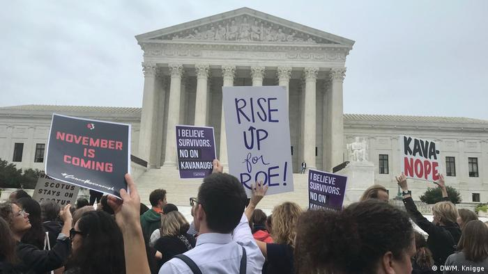 Demonstration against Kavanaugh in Washington as the hearing took place