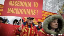 Macedonian protestors during a demonstration against the name agreement between Greece and Macedonia in Skopje. After signing the name deal large demonstration took place both in Macedonia and Greece. Stichwort: Mazedoniens Referendum Copyright: Dimitris Tosidis, DW
