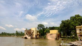 Bangladesch Fluss Jamuna Ufer Erosionen