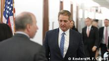Sen. Jeff Flake, R-AZ, returns from a break to the Senate Judiciary Committee confirmation hearing with U.S. Supreme Court nominee Brett Kavanaugh and Palo Alto University professor Christine Blasey Ford, who has accused Kavanaugh of a sexual assault in 1982.in Washington, U.S., September 27, 2018. REUTERS/Mary F. Calvert