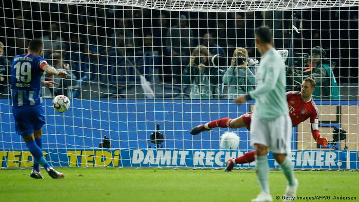 Vedad Ibisevic scores from the spot in Hertha Berlin's Bundesliga win over Bayern in September (Getty Images/AFP/O. Andersen)