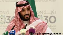 Saudi Defense Minister and Deputy Crown Prince Mohammed bin Salman answers questions during a press conference in Riyadh, on April 25, 2016. The key figure behind the unveiling of a vast plan to restructure the kingdom's oil-dependent economy, the son of King Salman has risen to among Saudi Arabia's most influential figures since being named second-in-line to the throne in 2015. Salman announced his economic reform plan known as Vision 2030. / AFP / FAYEZ NURELDINE (Photo credit should read FAYEZ NURELDINE/AFP/Getty Images)