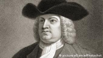Kupferstich von Quäker William Penn, Gründer der Kolonie Pennsylvania.