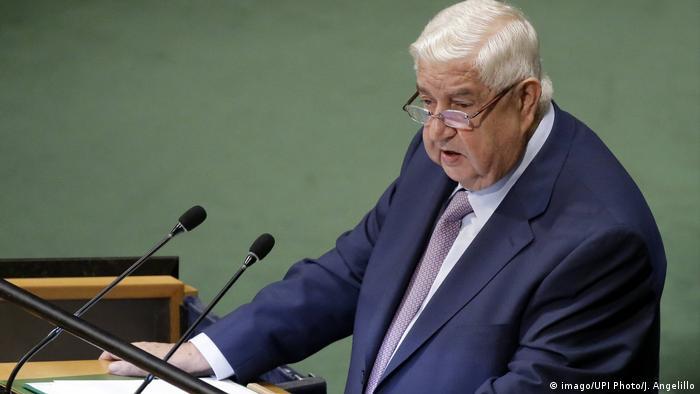 Syriens Außenminister Walid al-Muallimn fordert in UN-Generaldebatte sofortigen Abzug der US-Armee (imago/UPI Photo/J. Angelillo)