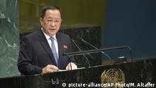 USA Ri Yong Ho Aussenminister von Nordkorea spricht vor der UN-Generalversammlung
