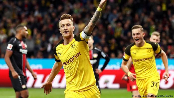 Marco Reus wheels away after levelling the game up | Jubel Reus (Getty Images/Bongarts/L. Baron)
