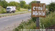 Ukraine Schild Vorsicht Minen