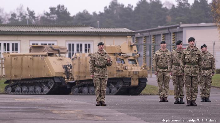 British soldiers from the Queen's Royal Hussars at the Athlone Barracks in Paderborn-Sennelager in Germany.