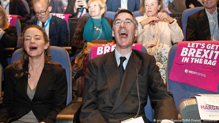 Jacob Rees-Mogg appears laughing at a pro-Brexit event