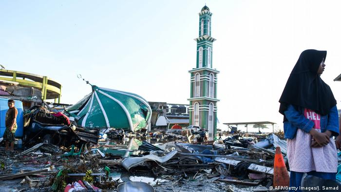 A collapsed mosque in Indonesia