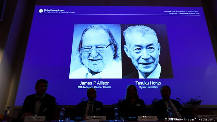 Nobelpreis für Medizin 2018 Tasuku Honjo James Allison (AFP/Getty Images/J. Nackstrand)