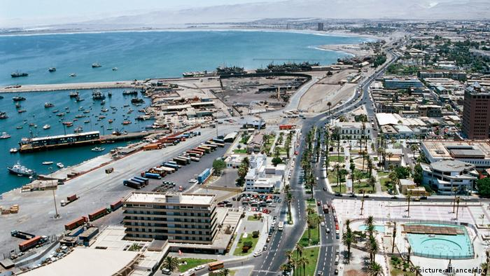 Aerial view of Arica port, Chile