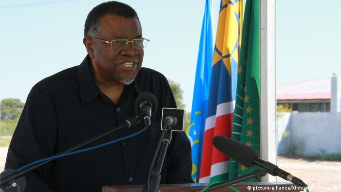 Namibian President Hage Geingob giving a talk