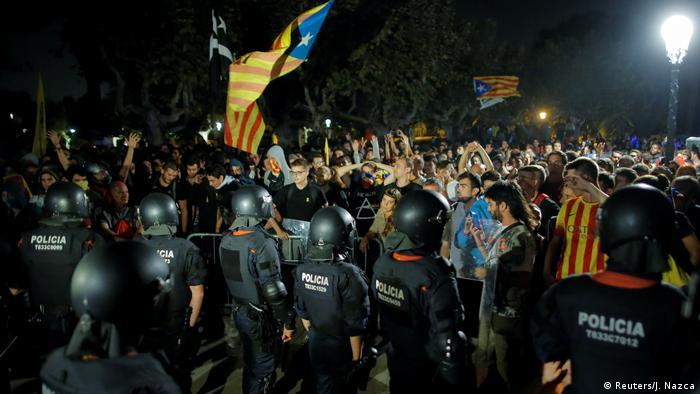 Spanien Katalonien Unabhängigkeitsbefürworter in Barcelona