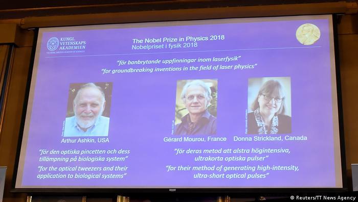Arthur Ashkin, Gerard Mourou e Donna Strickland são os vencendores do Nobel de Física 2018
