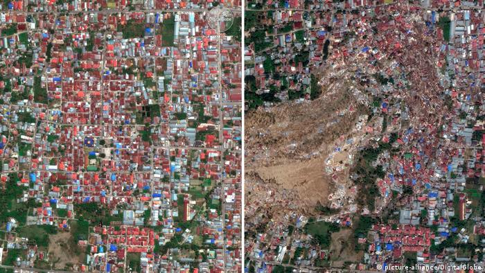 Penampakan Petobo sebelum dan setelah Gempa & Tsunami Palu