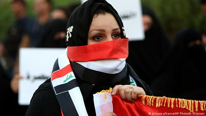 Iraqi woman at a protest in Basra