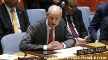 Dutch Foreign Minister Stef Blok addresses a meeting of the United Nations Security Council during the 73rd session of the U.N. General Assembly, at U.N. headquarters, Thursday, Sept. 27, 2018. (AP Photo/Jason DeCrow)  