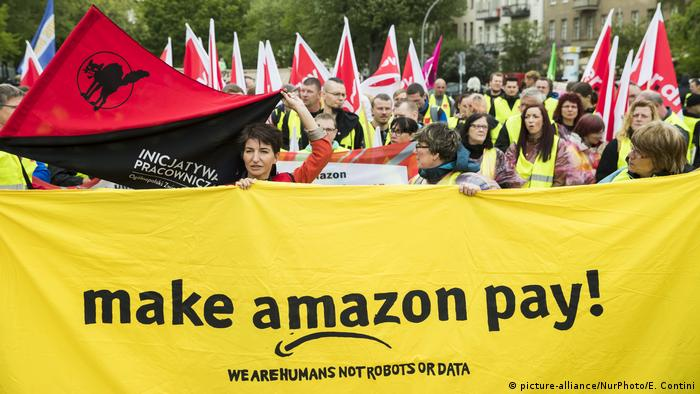 Amazon workers protested when founder Jeff Bezos was in Berlin to receive the Axel-Springer-Award in April