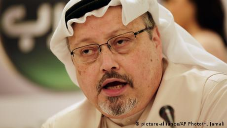 In this February 1, 2015, file photo, Saudi journalist Jamal Khashoggi speaks during a press conference in Manama, Bahrain.
