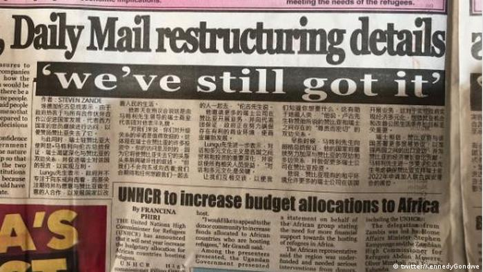 A close-up of a Zambian newspaper page with an article in Mandarin (twitter/KennedyGondwe)