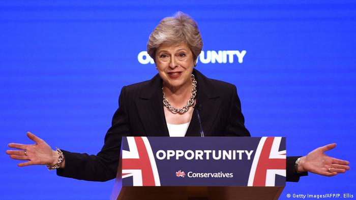 Which way, Theresa? Britain's Prime Minister Theresa May at the Conservative Party Conference 2018