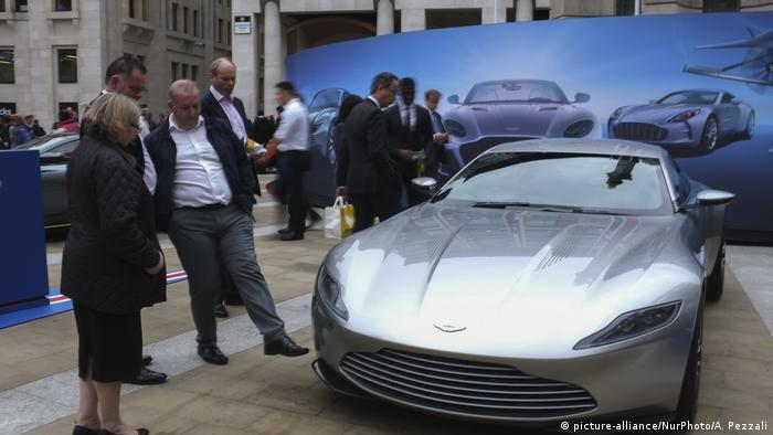 An Aston Martin car exhibtion at the London Stock Exchange in 2018