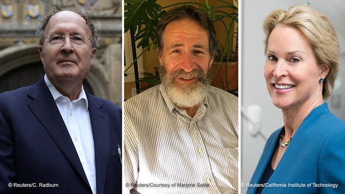 Os cientistas Gregory P. Winter, George P. Smith e Frances H. Arnold, vencedores do Nobel de Química de 2018