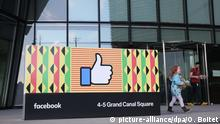 ©PHOTOPQR/LE PARISIEN ; DUBLIN ( 04.05.2018 ) Bénéficiant d'une fiscalité avantageuse au sein de la communauté européenne, le siège pour l'europe de Facebook, situé dans les quartiers des Docklands, a été inauguré en 2016. PHOTO LE PARISIEN OLIVIER BOITET - Facebook Europe headquarters in Dublin, Ireland Foto: Olivier Boitet/MAXPPP/dpa |