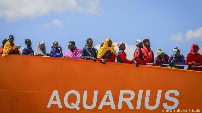 The Aquarius docked in Salerno, Italy