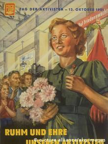 Плакат ко Дню ударника в ГДР. 1951 год