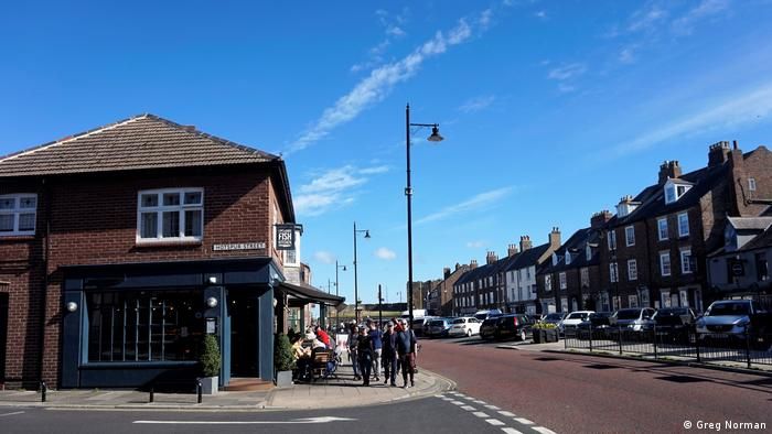 View down a street in the British town of Tynemouth