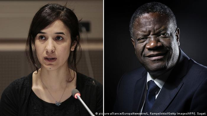 Bildkombo Denis Mukwege und Nadia Murad (picture-alliance/EuropaNewswire/L. Rampelotto//Getty Images/AFP/J. Saget)