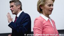 Britain's Defence Minister Gavin Williamson, left, and Germany's Defence Minister Ursula von der Leyen talk to others Defence Ministers before a signing ceremony following a meeting of NATO defence ministers at NATO headquarters in Brussels, Wednesday, Oct. 3, 2018. (AP Photo/Francisco Seco, Pool)  