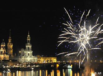 Fireworks are seen in the night sky above Dresden