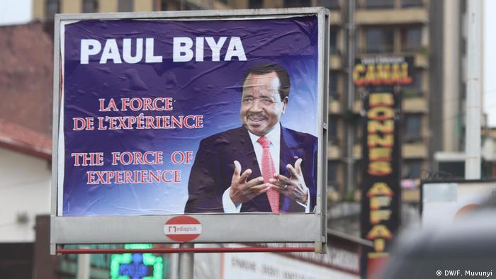 Campaign poster of Paul Biya, Cameroon