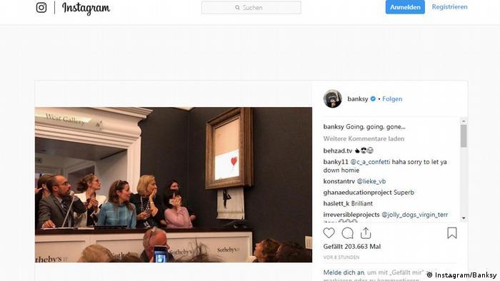 Screenshot Instragram Banksy