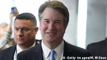 WASHINGTON, DC - AUGUST 15: Supreme Court Justice nominee Judge Brett Kavanaugh walks to a meeting with Sen. Heidi Heitkamp (R-ND) in the Hart Senate Office Building, on August 15, 2018 in Washington, DC. Kavanaugh is meeting with members of the Senate after U.S. President Donald Trump nominated him to succeed retiring Supreme Court Associate Justice Anthony Kennedy. (Photo by Mark Wilson/Getty Images)