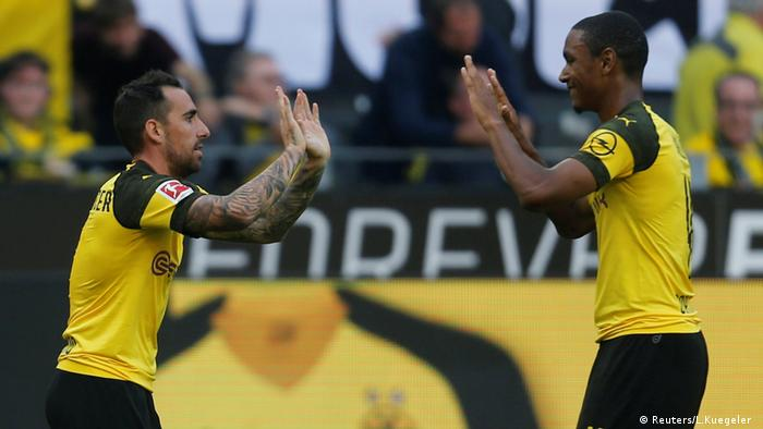 Paco Alcacer scored three for Borussia Dortmund (Reuters/L.Kuegeler )