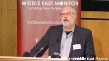 September 29, 2018**** Saudi dissident Jamal Khashoggi speaks at an event hosted by Middle East Monitor in London Britain, September 29, 2018. Picture taken September 29, 2018. Middle East Monitor/Handout via REUTERS. ATTENTION EDITORS - THIS IMAGE WAS PROVIDED BY A THIRD PARTY