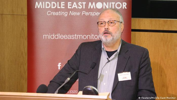 Jamal Kashoggi speaking at a Middle East Monitor event in London in September.