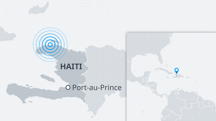 Map showing Haiti and the capital, Port-au-Prince