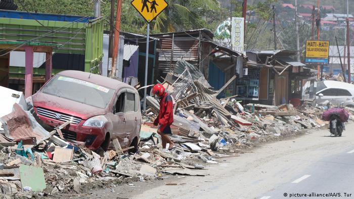 Одна из улиц индонезийского города Палу, 6 октября 2018 года