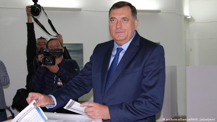 Serb candidate Milorad Dodik casts his vote at a polling station during the general elections in Laktasi, Banja Luka, Bosnia and Herzegovina on October 7.