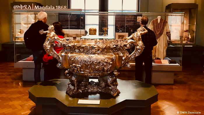 A view of the Victoria and Albert Museum, London, featuring looted Ethiopian treasures