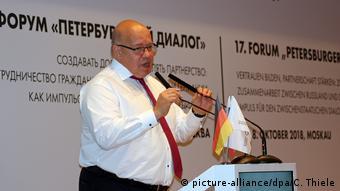 Петер Альтмайер выступает на открытии Петербургского диалога