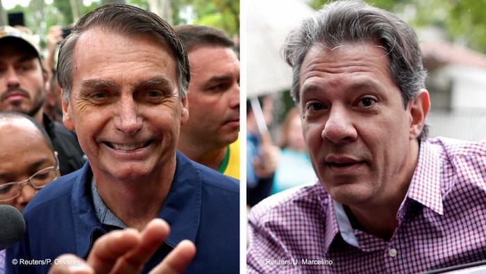 Кандидаты в президенты Бразилии Жаир Болсонару и Фернандо Хаддад